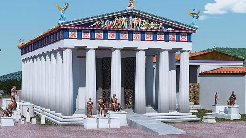 Reconstrução de possível templo grego com rampas de acesso