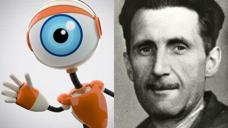 Logotipo do reality Big Brother e retrato do escritor George Orwell