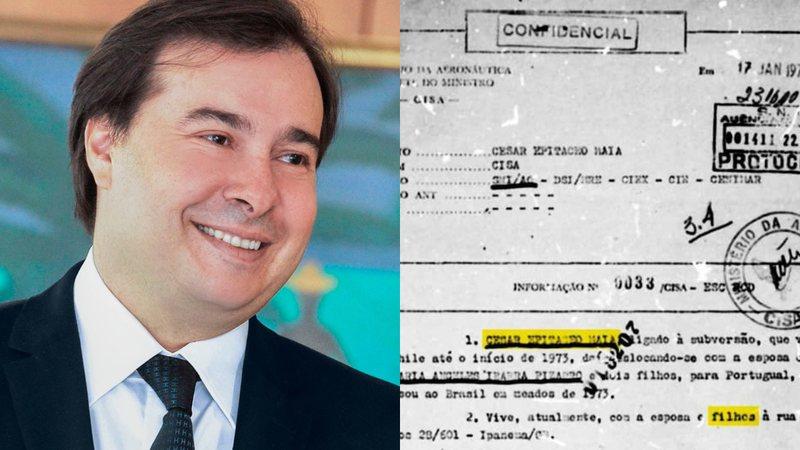 Foto de Rodrigo Maia (à esq) e foto de documento postado pelo político (à dir.)