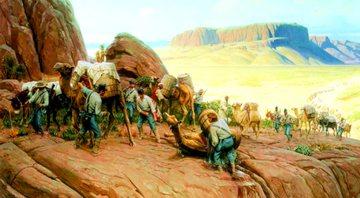 Obra de Thomas Lovell que representa os camelos no Texas - Reprodução / Permian Basin Petroleum Museum e Library and Hall of Fame of Midland