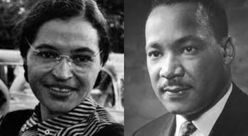 Rosa Parks (à esqu.) e Martin Luther King Jr. (à dir.) - Wikimedia Commons