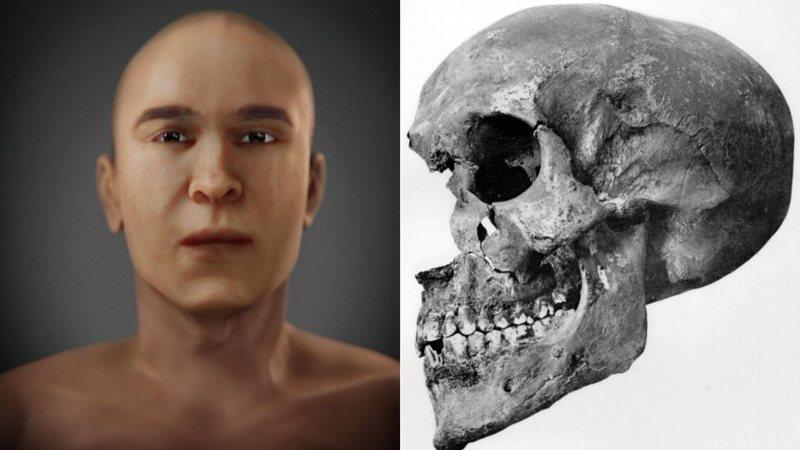 A reconstrução facial e o crânio da múmia da tumba KV 55