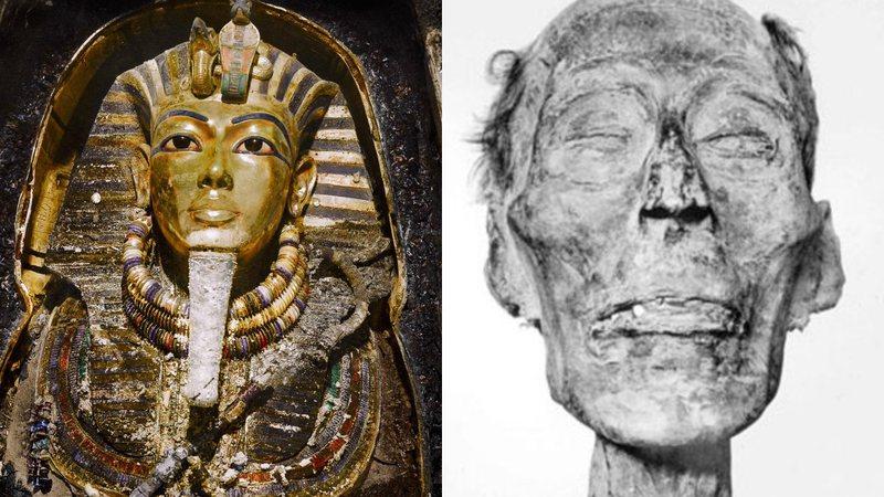 Sarcófago de Tutancâmon (à esqu.) e múmia de Ramsés II (à dir.)