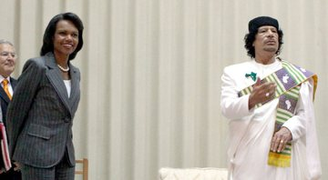 Registro do encontro de Condoleezza Rice com o coronel Gaddafi - Getty Images
