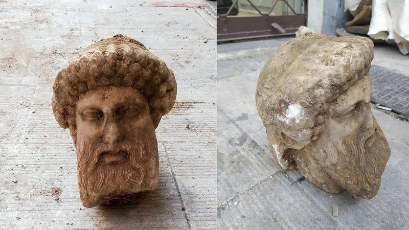Escultura de deus grego com mais de mil anos é encontrada nas ruas de Atenas