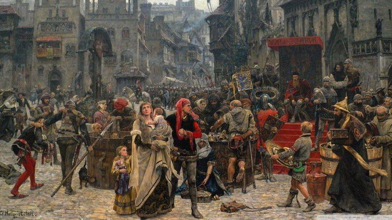 Ilustração de pessoas na Idade Média