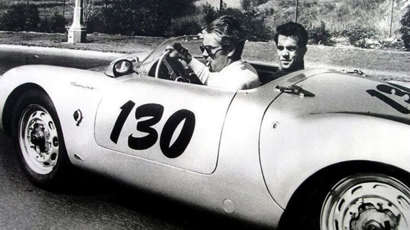 James Dean e Rolf Wütherich no Porsche do acidente