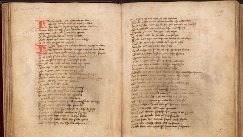 Páginas do livro de cortesia do século 15