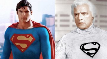 Christopher Reeve e Marlon Brando interpretando seus personagens no filme Superman, de 1978 - Divulgação
