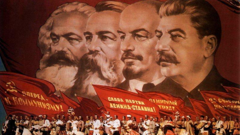 Marx, Engels, Lenin e Stalin em pintura clássica