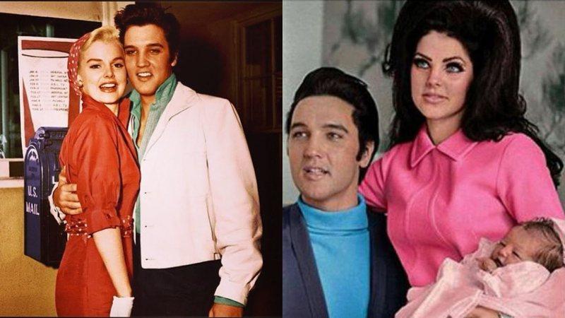 Elvis com Anita (esq.) e com Priscilla (dir.)