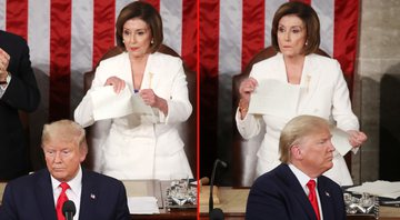 Nancy Pelosi rasgando o discurso de Donald Trump - Getty Images