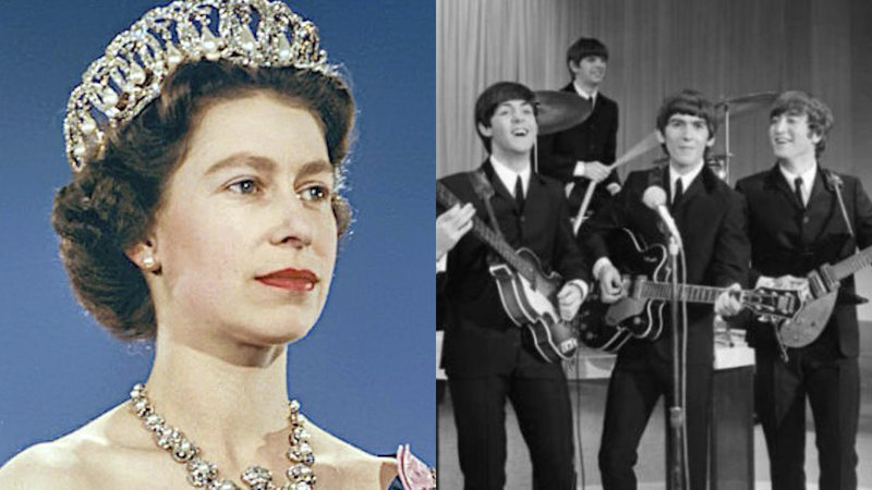 Elizabeth II em foto oficial (à esq.) e o quarteto The Beatles (à dir.)