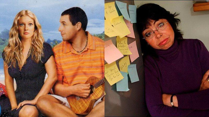 Montagem do pôster do filme Como Se Fosse a Primeira Vez (2004) e a foto real de Michelle Philpots