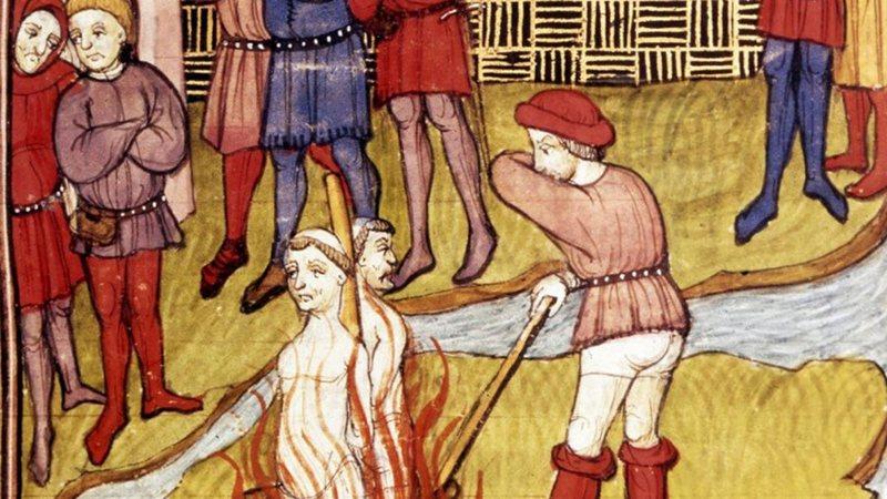 Pintura ilustrando métodos de tortura aplicados pela Santa Inquisição