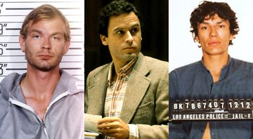 Jeffrey Dahmer, Ted Bundy e Richard Ramirez, respectivamente - Getty Images