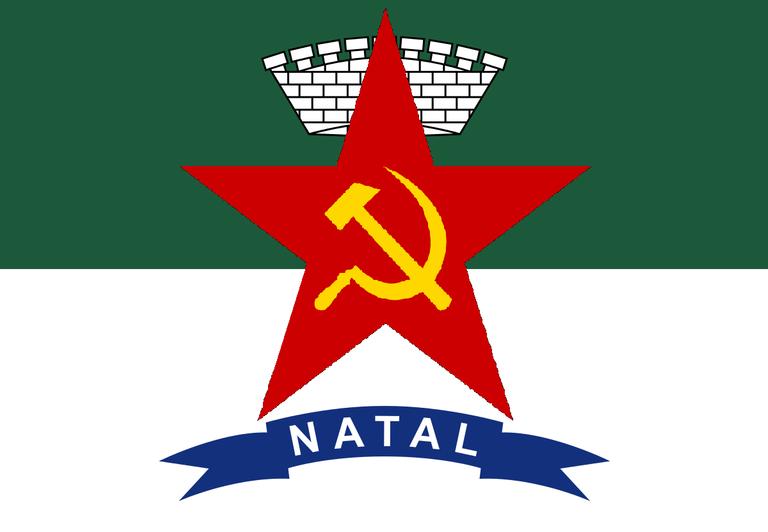 A bandeira de Natal com a estrela, a foice e o martelo