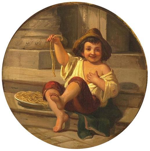 Cartão turístico do século 19, mostrando napolitano ainda comendo com as mãos