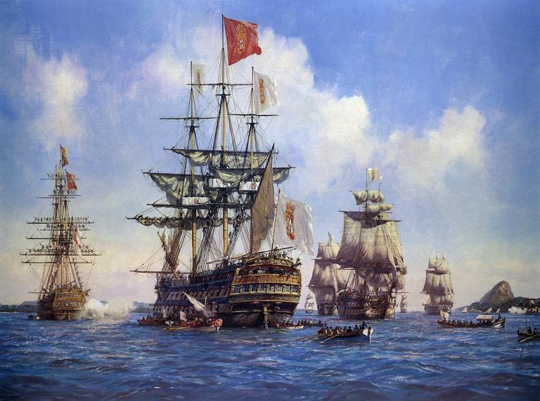 Quadro contemporâneo mostrando a saída da frota