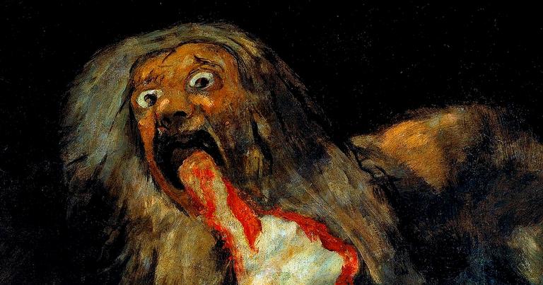 O deus Saturno comendo seus filhos, em quadro de Francisco Goya