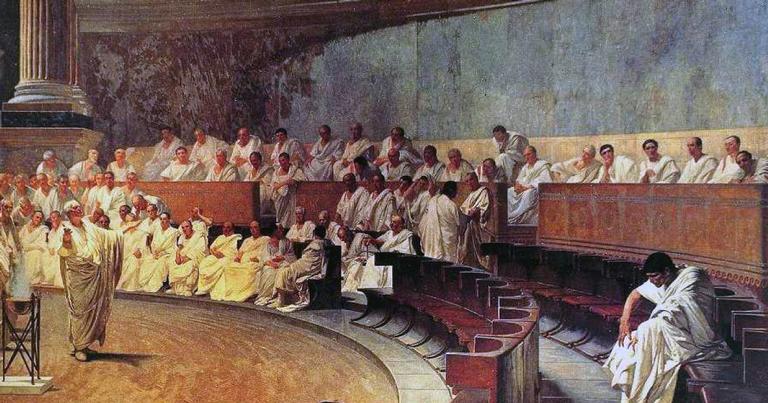 A obra ''Cícero denuncia Catilina'' | <i>Crédito: Wikimedia Commons Images