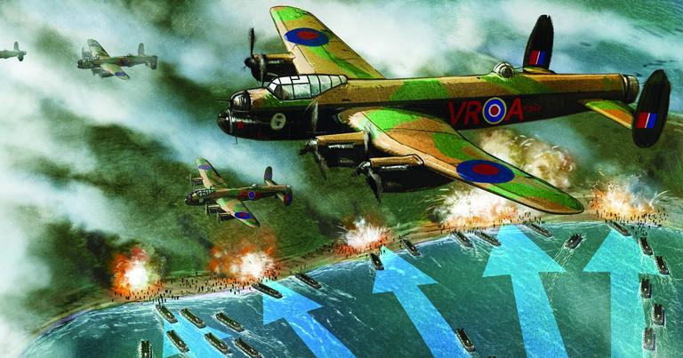 Bombardeiros Avro Lancaster britânicos sobrevoando a praia de Omaha