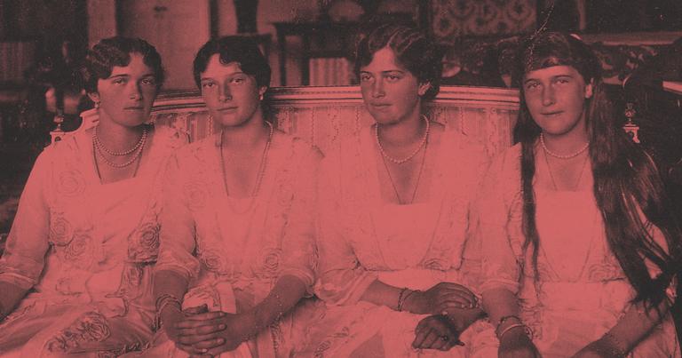 No retrato as quatro irmãs, Olga, Tatiana, Maria e Anastásia