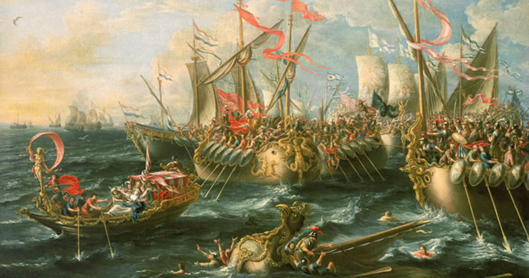 Obra barroca representando a Batalha de Ácio