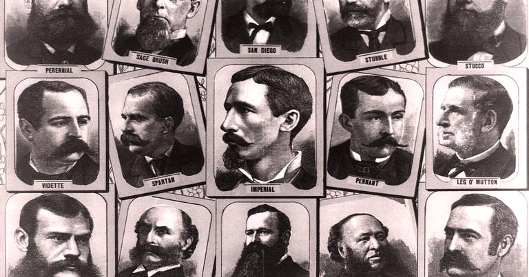 Cartaz com opções de corte no século 19, a era de ouro das barbas