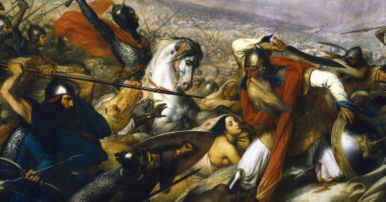 Carlos Martel derrotando os muçulmanos na batalha de Poitiers