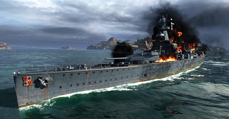 O navio sendo representado em jogo de video game