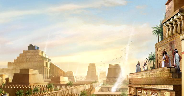 A Babilônia com templos ao fundo
