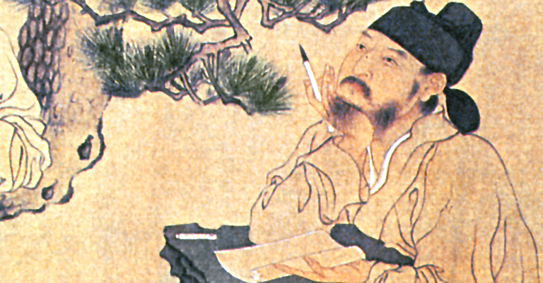 Um pensador chinês em ilustração em rolo de seda