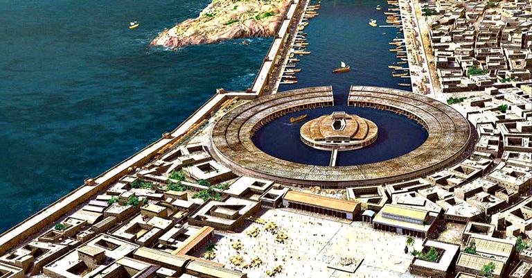 O famoso porto de Cartago em seu auge