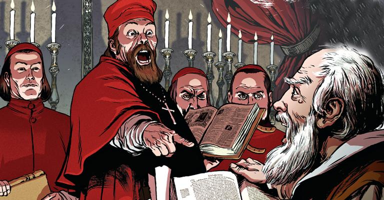Em 1633, o Santo Ofício obriga o cientista a negar suas teses