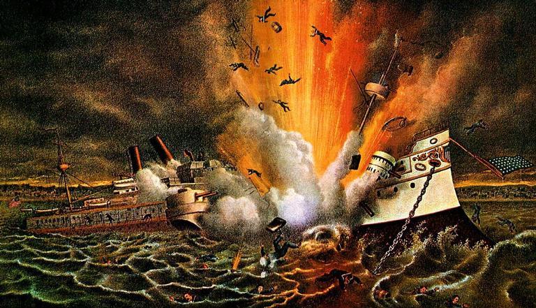 Gravura dos EUA com o momento da destruição do USS Maine