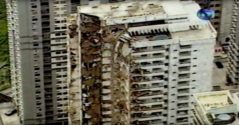O prédio destruído em reportagem da TV Globo