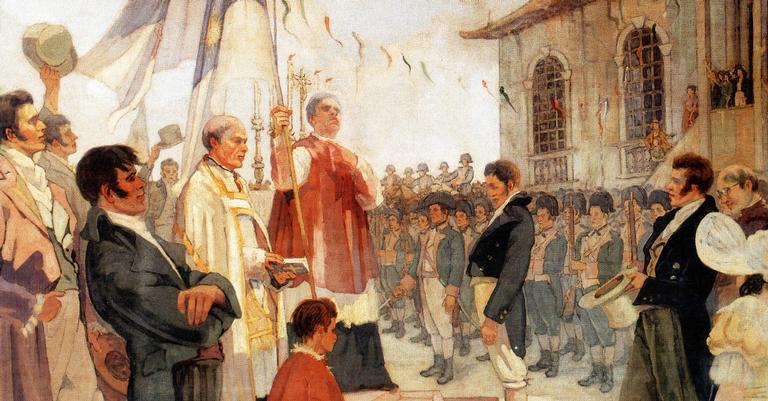 O quadro 'Bênção das Bandeiras da Revolução de 1817'