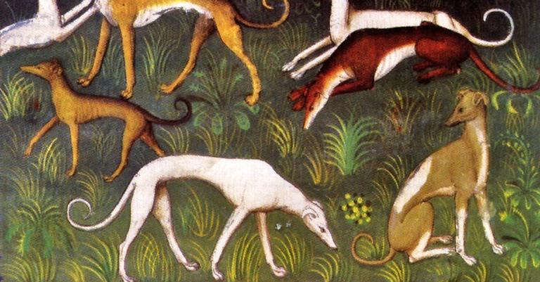 Detalhe de tapeçaria medieval com cachorros