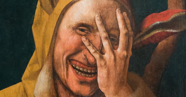 Um bobo da corte por volta de 1500, quadro do holandês Jacob Cornelisz van Oostsanen