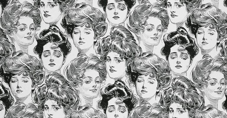 Papel de parede de 1902 com as icônicas faces