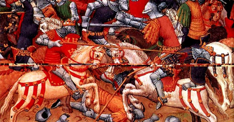 Representação contemporânea do combate na Guerra das Rosas