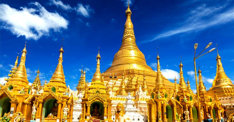 A torre budista Pagode Shwedagon