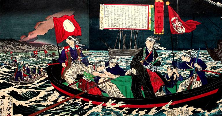 Tokugawa Yoshinobu a caminho de Edo
