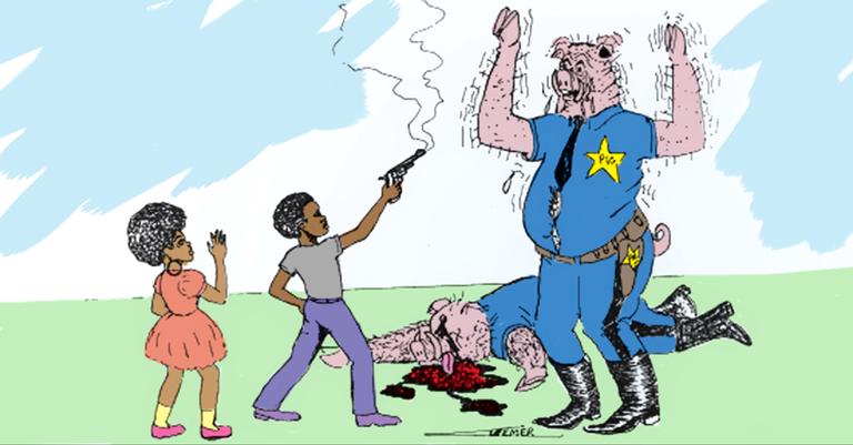 Uma das insólitas ilustrações feitas pelo FBI para denegrir os Panteras Negras