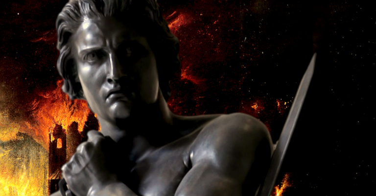 Montagem com estátua de Espártaco no Louvre