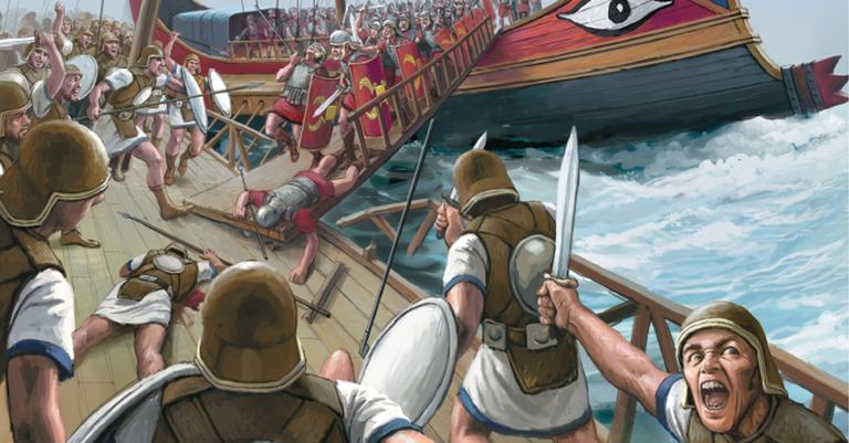 Os romanos superaram a supremacia marítima cartaginesa lançando pranchas sobre as embarcações inimigas