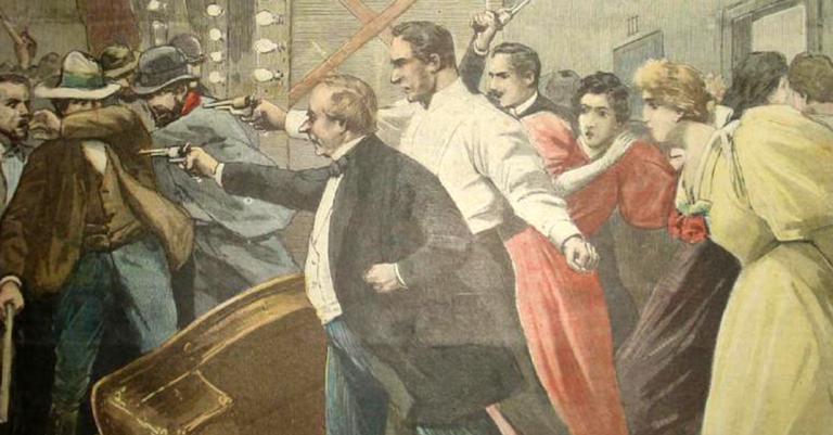 Representação do ataque ao teatro São José