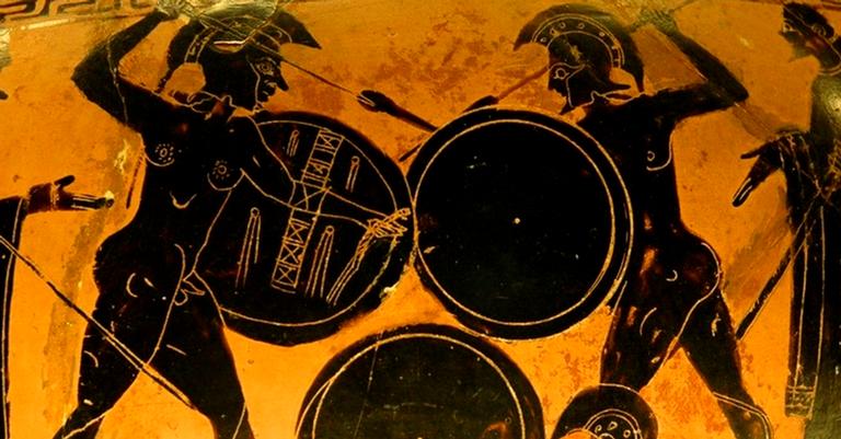 Representação de guerreiros gregos lutando