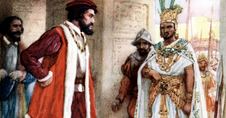Hernando Cortez e o Imperador asteca Montezuma II